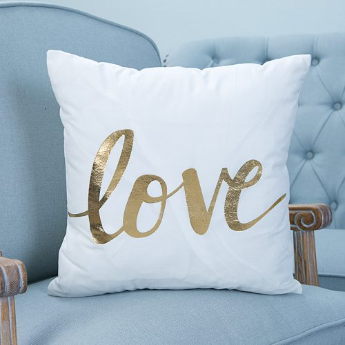 Декоративные белые наволочки на подушки 45х45 см с золотым блестящим рисунком