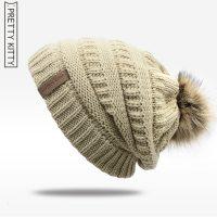 Женская мешковатая вязаная утепленная шапка с подкладкой и меховым помпоном