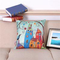 Декоративные льняные яркие наволочки на подушки 45х45 см с рисунками зданий