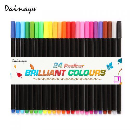 Цветные ручки капиллярные (линеры, маркеры) на водной основе 0.4 мм в наборе 24 шт. Dainayw