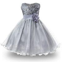 Детское бальное пышное платье без рукава с пайетками для девочек
