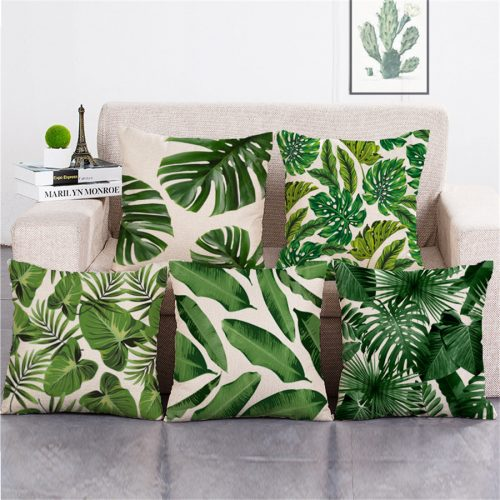 Декоративные льняные зеленые наволочки на подушки 45х45 см с изображением тропических растений