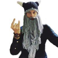 Мужская вязаная шапка-шлем викинга с рогами + борода