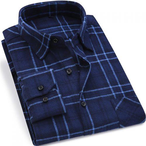 Мужская клетчатая фланелевая рубашка с длинными рукавами