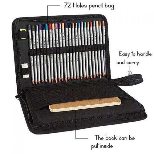 Сумка пенал из синтетической кожи PU для 72 карандашей или ручек и альбома