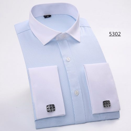 Мужская классическая приталенная рубашка с длинными рукавами и запонками