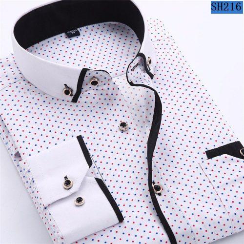 Мужская приталенная рубашка в мелкий рисунок с длинными рукавами