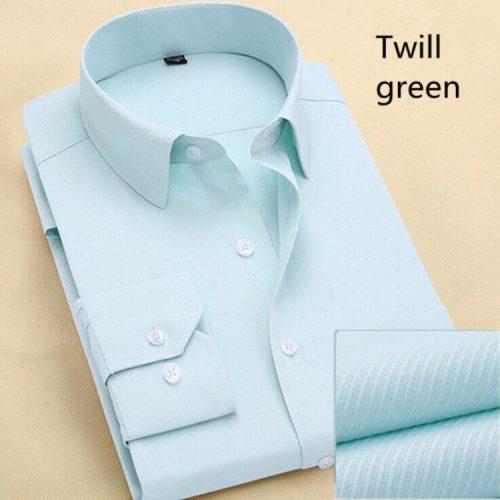 Мужская однотонная и в полоску классическая приталенная рубашка с длинными рукавами