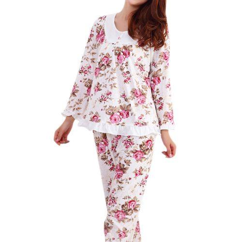 Ночная женская хлопковая пижама с брюками и длинным рукавом, с цветочным принтом