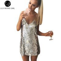 Блестящее серое короткое вечернее платье на бретелях с пайетками на новый год
