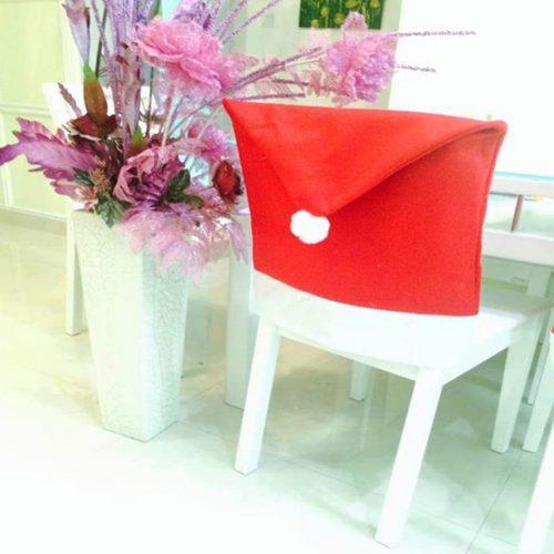 Новогодний красный чехол Колпак Санты на спинку стула