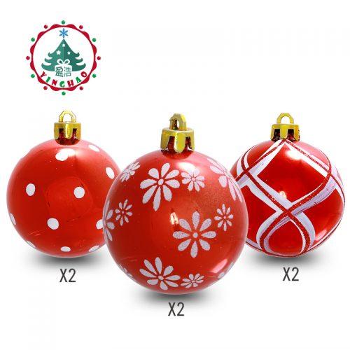 Новогодние красные елочные шары из пенопласта с белым орнаментом-рисунком 24 шт. диаметром 6-8 см