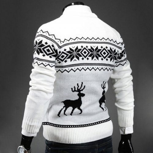 Мужской новогодний свитер пуловер с оленями и рождественским узором (синий, серый, белый)