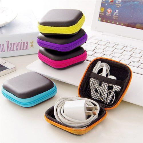 Жесткий квадратный чехол-сумка для хранения наушников, зарядки, ключей
