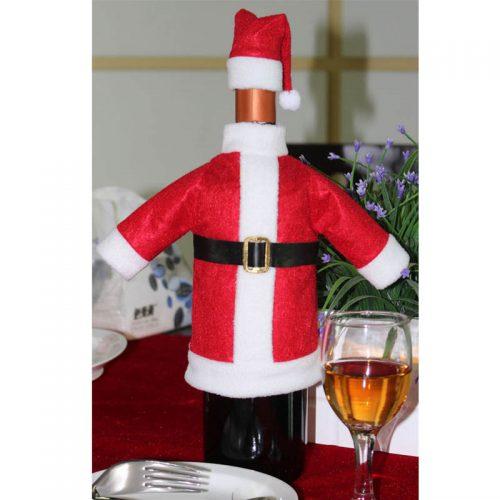 Новогодний декоративный костюм Санта Клауса и шапочка на бутылку