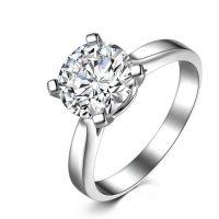 Кольцо из 18 К белого золота с настоящим бриллиантом 1 карат