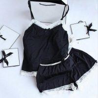 Ночная атласная шелковая пижама-сорочка с кружевом (шорты и майка)