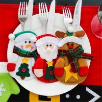 Новогодние варежки кармашки чехлы для столовых приборов