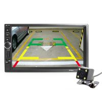 """HIEI Автомобильная сенсорная Bluetooth FM магнитола с дистанционным управлением, HD экраном 7"""", поддержкой камеры заднего вида и GPS навигатором"""