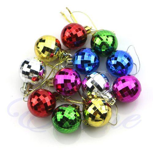 Пластиковые елочные разноцветные шары в стиле диско в наборе 12 шт. диаметром 3 см