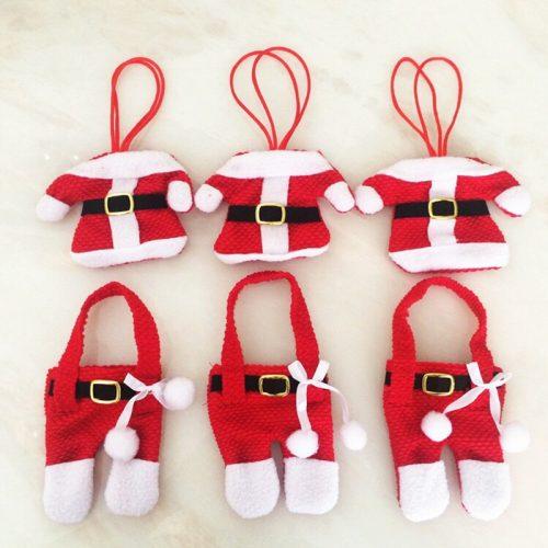 Новогодние варежки кармашки чехлы для столовых приборов в виде костюма Санта Клауса