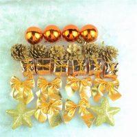 Набор новогодних елочных украшений (шары, шишки, колокольчики, бантики, звездочки, подарки)
