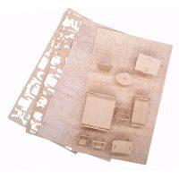 Набор конструктор деревянной миниатюрной мебели для кукольного домика