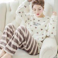 Ночная теплая женская флисовая пижама с брюками и длинным рукавом, с рисунками