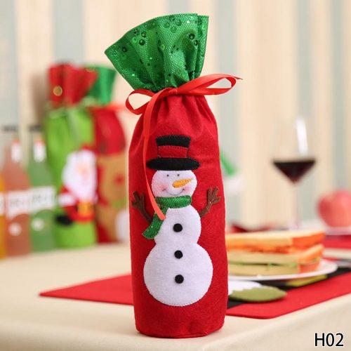 Новогодний подарочный мешок чехол украшение для бутылки шампанского