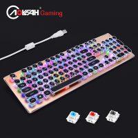 Механическая проводная ретро LED клавиатура с подсветкой в стиле стимпанк для компьютера