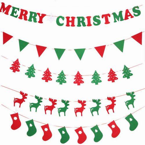 Новогодняя красно-зеленая гирлянда баннер (Merry Christmas, флажки, олени, носки)