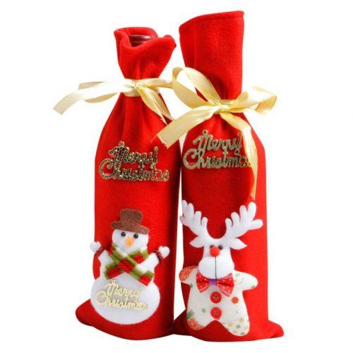 Новогодний подарочный красный мешок чехол украшение для бутылки шампанского с надписью Merry Christmas