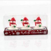 Новогодние декоративные свечи 3 шт. (Санта Клаус, снеговик, шишки, подарки)