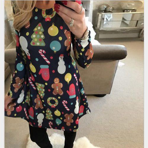 Женские трапециевидные платья с новогодним принтом (есть большие размеры)