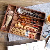 Деревянный ящик лоток для хранения столовых приборов