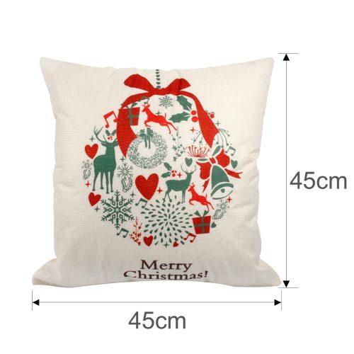 Новогодние льняные декоративные наволочки на подушки 45×45 см