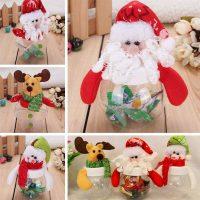 Новогодняя прозрачная коробка для конфет с крышкой мягкой игрушкой Снеговик, Олень, Санта Клаус