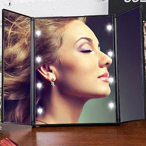 Портативное складное косметическое зеркало для макияжа с подсветкой и подставкой
