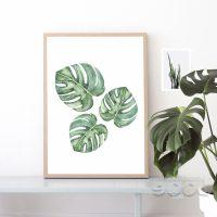 Картина плакат на холсте с изображением тропических листьев