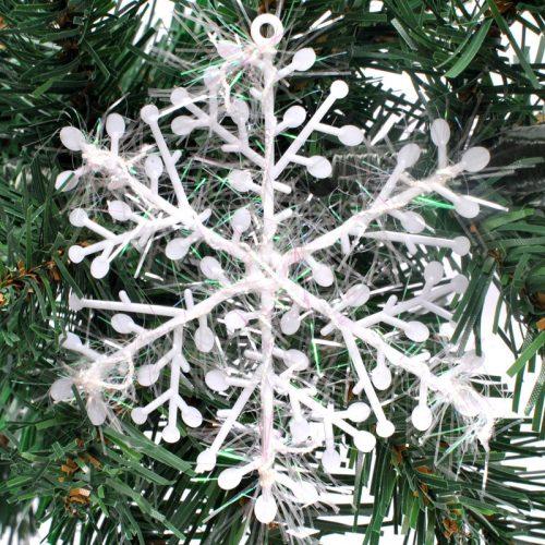 Новогоднее елочное украшение белые снежинки 6 см/30 шт.