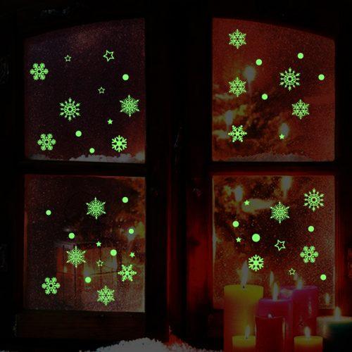 Новогодние светящиеся в темноте снежинки стикеры