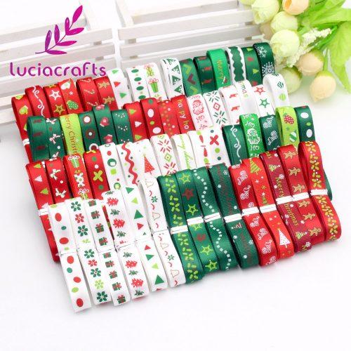 Красная, белая и зеленая атласная лента с новогодним рисунком 12 ярдов 10 мм