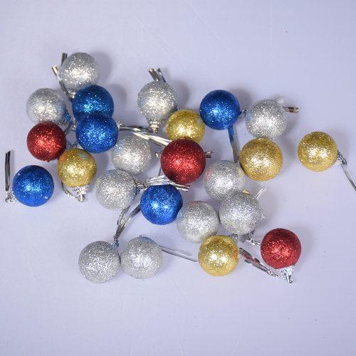 Новогодние блестящие елочные шары из пенопласта 24 шт. разного цвета диаметром 3 см