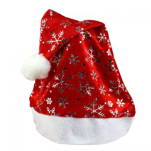 Красный колпак Деда Мороза (Санта Клауса) со снежинками
