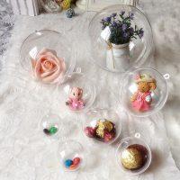 Пластиковые прозрачные елочные разъемные шары в наборе 10 шт. диаметром 4 см