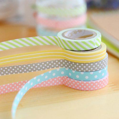 Маленький декоративный цветной бумажный скотч в полоску и горошек в наборе 5 шт.