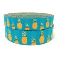 """Жаккардовые голубые и желтые ленты с ананасами и арбузами 16 мм 5/8 """"и 22 мм 7/8"""""""