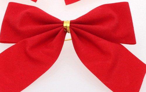 Красный бант из плотной ткани для украшения новогодней елки, декора