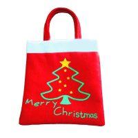 Новогодняя красная сумка мешок с ручками для подарков