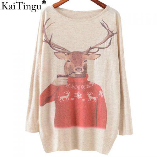 Женский трикотажный свободный пуловер с оленями и другими рисунками